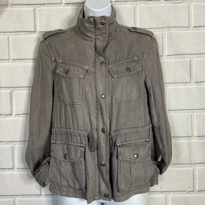 TALULA Gray Cargo Military Style Drawstring Jacket